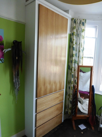 fitted alcove oak wardrobes with drawers